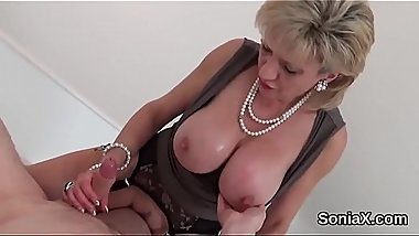 Adulterous british mature lady sonia pops out her huge titties