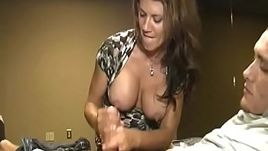 Faketit stepmom tugging dick while clothed