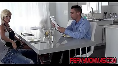 Kinky housewife gives head while husband in the same room