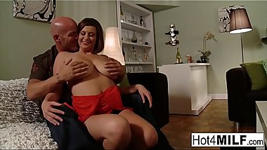 Naturally stacked brunette gets fucked hard on the couch