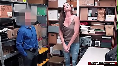 Milf accomplice sucks officers cock