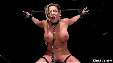 Brunette Milf toyed in device bondage