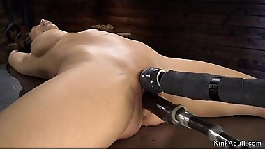 Super hot Milf bangs machine in bondage