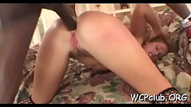 Very raunchy white gal performs rodeo on big darksome penis