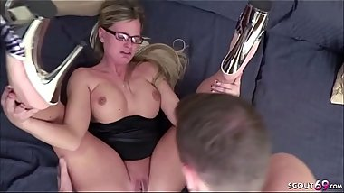 HOT GERMAN MILF Jacky Seduce Young Boy to Fuck and Facial