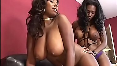 Sexy BBW ebony slut Nyomi Banxxx gets her cunt fucked by strapon and licked by her chubby girlfriend Candace Von'_s tongue