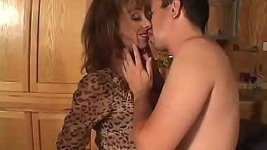 Busty long haired mature slut Gabrielle is fucked by a stud then he cums on her