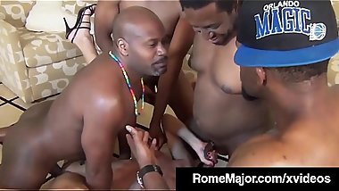 Black Gang Bang! Rome Major &amp_ 3 Bros Fuck White Jade Jamison