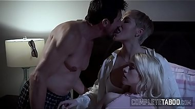 Teen gets fucked and jizzed in taboo 3way