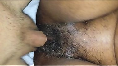 Ebony MILF hairy pussy enjoys interracial action