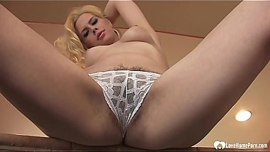 Adorable blonde spread her ass and pussy