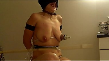 badly disciplined slave get her tits punished