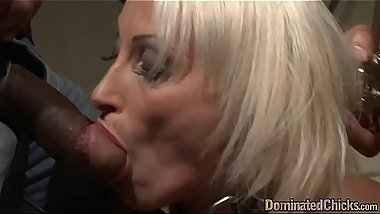 Submissive MILF sucking masters black cock