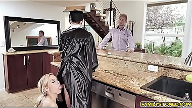 Stepmom Kenzie Taylor gives stepson a blowjob reward!