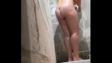chubby French mom in the shower