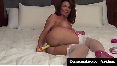 Busty Cougar Deauxma Stuffs Her Ass With A Butt Plug &amp_ Cums!