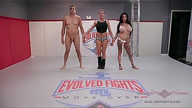Tattooed MILF Jen Hexxx grinds and bites Racker'_s balls in this winner-fucks-loser mixed gender wrestling match