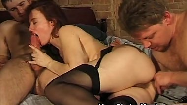 Hairy pussy lady in stockings and heels