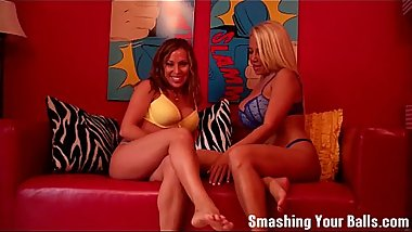 Two hot MILFs smashing your balls