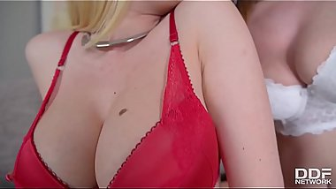 Blonde Glamour Nymphos Donna Bell &amp_ Tasha Holz Share Massive Double Dong