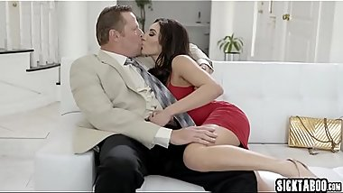 Two sexy petite horny babes banged by a guys big cock