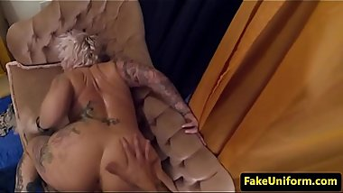 Inked UK milf doggystyled by cops cock