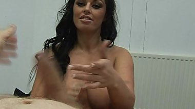 Lady Boss gives subordinate a harsh handjob