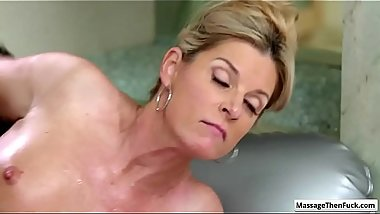 Sexy blonde milf India Summer suck cock on the massage mattress and get her pussy fucked hard