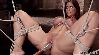Busty Milf slave made to squirt hogtie
