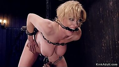 Tied up huge tits Milf in device bondage