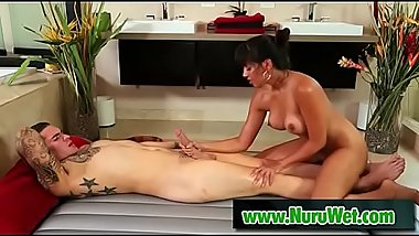 Slippery nuru massage with Clover &amp_ Mercedes Carrera