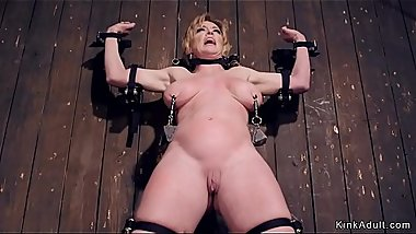 Tied busty Milf gets boobs tormented