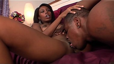 Lucky big cock black dude fucks cute young ebony princess Monica Foster  in her pussy