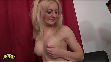 Burning blonde fucks hard with three boys