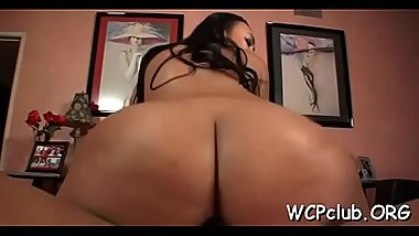 Beauty masturbates and gets chocolate cock in her wet snatch