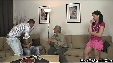 Slutty bitch rides his father'_s dick