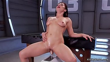 Brunette squirter fuck big cock machines