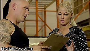 Big Tit Blonde MILF Fucking In Construction Warehouse