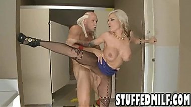 Blonde MILF with big tits and tattoos gets fucked