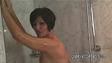Milf with Big Tits Shay Fox Strips Out of Sexy Bikini and Bathes Her Nude Body in the Shower