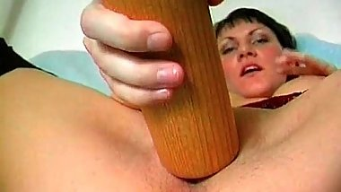 Kinky short haired mom is crazy as she