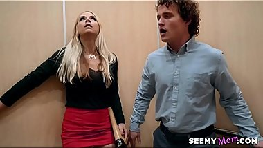 My boss'_ angry wife Sarah Vandella fucks me in the elevator