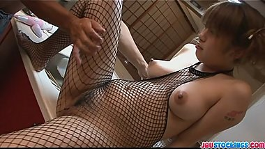 Tight and nasty babe in fishnet finger fucked and toyed