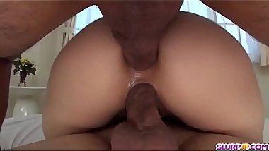 Rei Furuse tries anal with two big Japanese cocks - More at Slurpjp.com