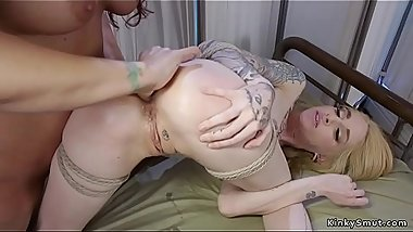 Lesbian doctor examines blondes tight ass