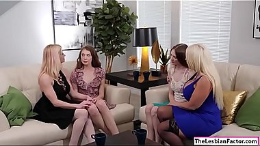 Teen babe licked by her busty stepmom